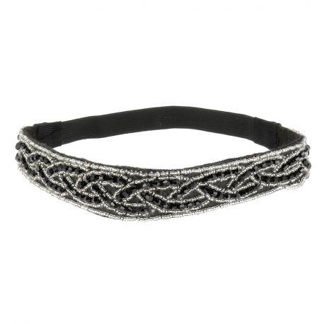Headband Soirée Noir et Argenté - Bandeau Cheveux