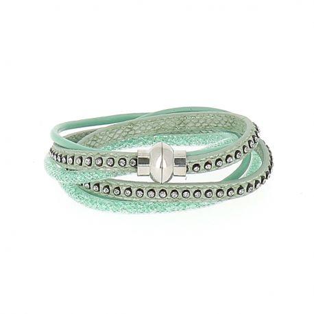 Bracelet Wrap Strass Vert d'eau - Bracelet Multirang Aimanté