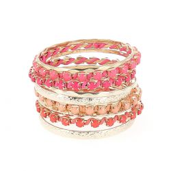 Bracelet Bangles Rose et Corail - Bracelet Fantaisie Femme