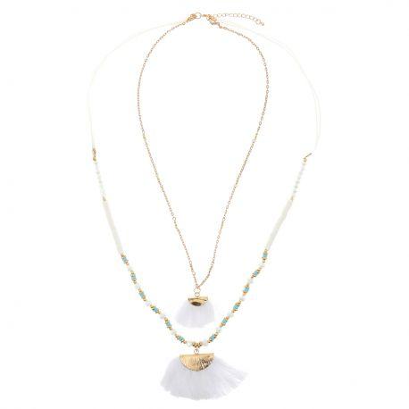 Sautoir Multirang Perles et Franges Blanches - Sautoir Pompon