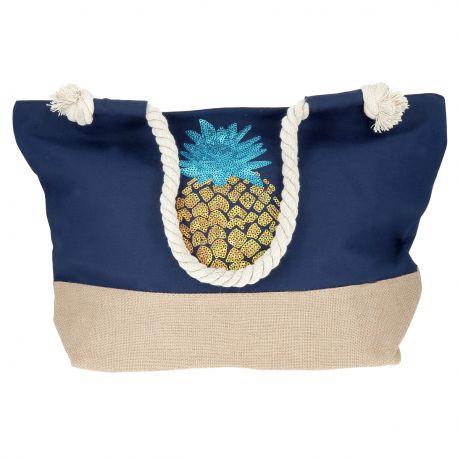 Sac Cabas Ananas Bleu marine - Sac été 2018