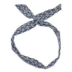 Bandeau à Nouer Blanc et Bleu marine Ethnique - Accessoire cheveux