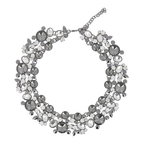 Collier Plastron Strass Gris - Collier Mariage
