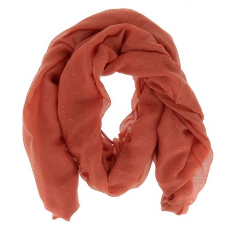 Foulard Orange Rouille Paillette - Foulard Mousseline