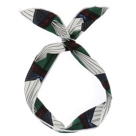 Bandeau à Nouer Ethnique Vert - Bandeau Cheveux - Accessoire Cheveux