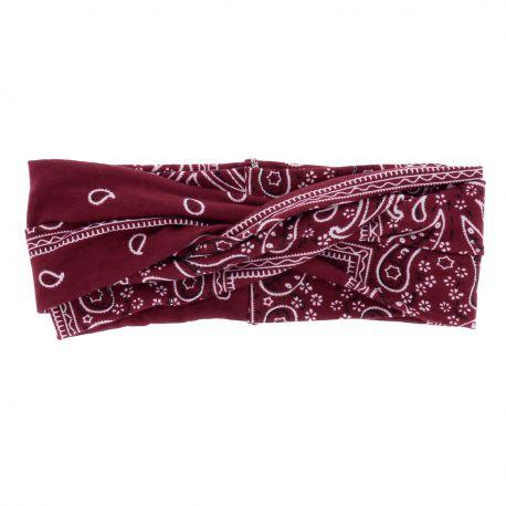 Bandeau Large Lie de vin Paisley - Bandeau Cheveux - Headband