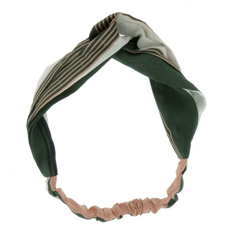 Bandeau Torsadé Rayé Kaki et Rose - Bandeau Cheveux - Headband Turban