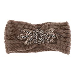 Bandeau Maille Bijoux - Bandeau Maille Taupe Perles
