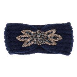 Bandeau Maille Bleu marine Perles - Bandeau Tricot