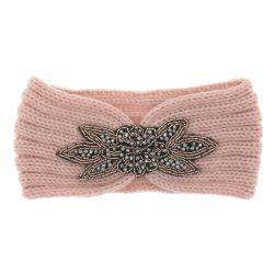 Bandeau Maille Rose Perles - Bandeau Cheveux Hiver