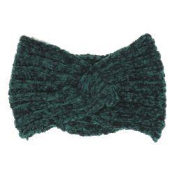 Bandeau Maille Chenille Vert foncé - Bandeau Cheveux Hiver