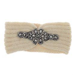 Bandeau Bijoux Maille Beige - Headband Hiver