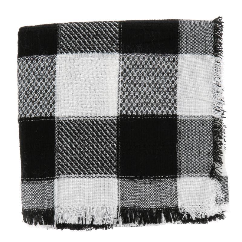 e89e5577c3dd Echarpe Oversize Carreaux Noir et Blanc - Foulard Femme Carreaux · Foulard  Plaid