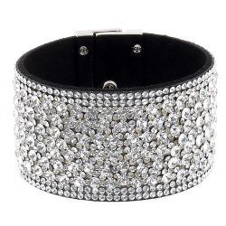 Bracelet Manchette Strass Blanc - Bracelet femme