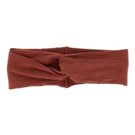 Bandeau Large Noeud Côtelé Orange rouille - Bandeau Cheveux