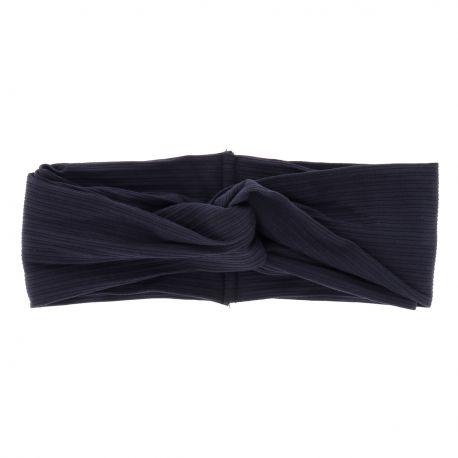 Bandeau Large Noeud Côtelé Bleu marine - Headband Noeud
