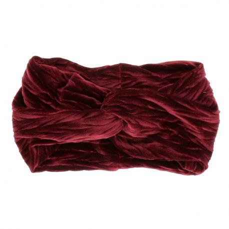 Bandeau Turban Velours Plissé Bordeaux - Bandeau Cheveux Hiver
