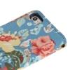 Etui portefeuille Iphone 5 / 5S Bleu imprimé Fleurs