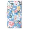 Etui portefeuille Iphone 6 plus Bleu imprimé Fleurs