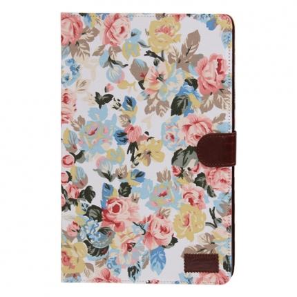 Etui portefeuille Ipad Air Blanc imprimé Fleurs
