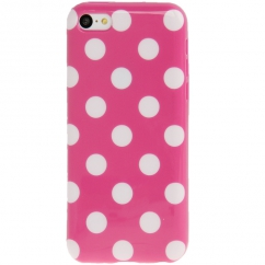 Coque Iphone 5C Rose vif à pois blancs