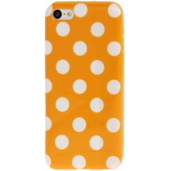 Coque Iphone 5C Orange à pois blancs