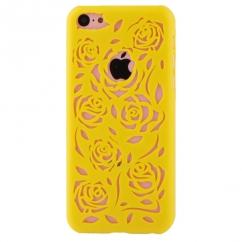 Coque Iphone 5C Jaune sculptures fleurs