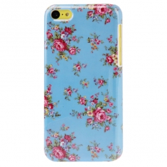 Coque Iphone 5C Bleue Motif Fleurs