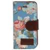 Etui portefeuille Iphone 5C Bleu imprimé Fleurs