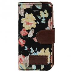 Etui portefeuille Iphone 5C Noir imprimé Fleurs