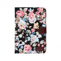 Etui portefeuille Ipad mini / mini 2 rétina Noir imprimé Fleurs