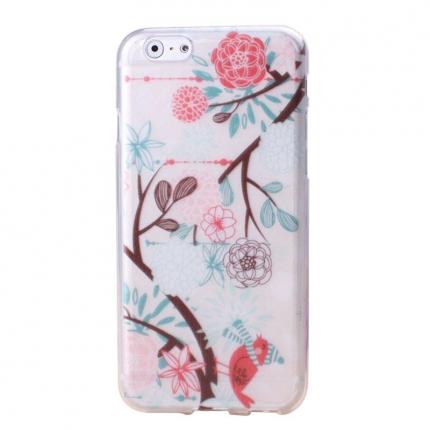Coque Iphone 6 Nacré motif fleurs et oiseau
