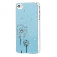 Coque Iphone 4 / 4S Bleu ciel fleurs strass
