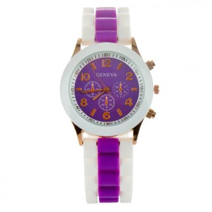 Montre silicone bicolore violette et blanche