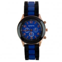 Montre silicone bicolore bleu marine et noire