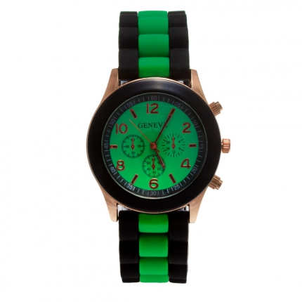 Montre silicone bicolore verte et noire