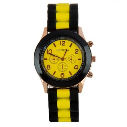 Montre silicone bicolore jaune et noire