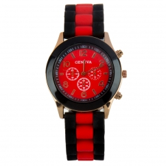 Montre silicone bicolore rouge et noire