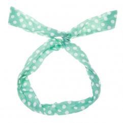 Bandeau cheveux vert d'eau à pois blanc - Bandeau Vintage
