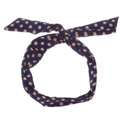 Bandeau cheveux bleu marine à pois taupe - Bandeau Vintage