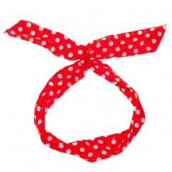 Bandeau cheveux rouge à pois blanc - Bandeau Vintage