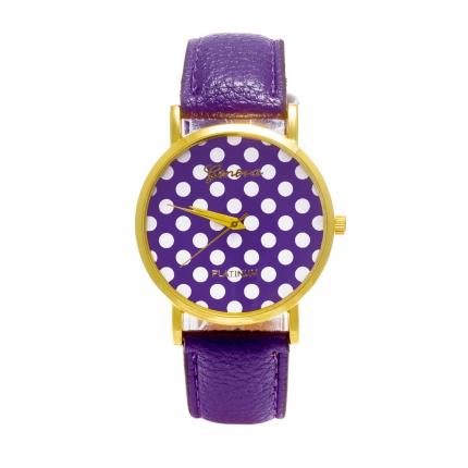Montre violette Pois