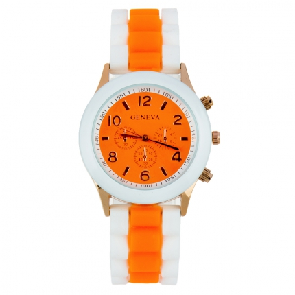 Montre silicone bicolore orange et blanche
