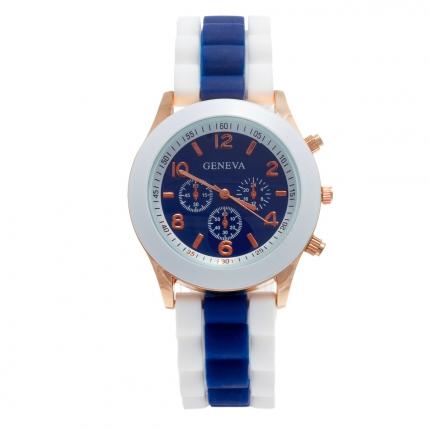Montre silicone bicolore bleu marine et blanche