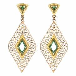 Boucles d'oreilles losanges dorées perles vertes