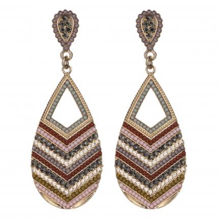 Boucles d'oreilles chevrons dorées perles pastels