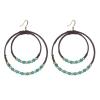 Boucles d'oreilles créoles perles turquoises