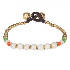 Bracelet ethnique perle blanche - Bracelet Perle