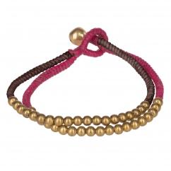Bracelet double perle rose fuchsia