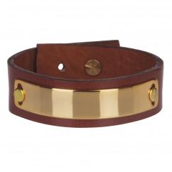 Bracelet cuir femme marron plaque dorée - Manchette Cuir